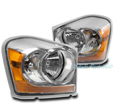 04-05 DODGE DURANGO SUV CRYSTAL STYLE HEADLIGHTS LAMPS CHROME/AMBER REPLACEMENT