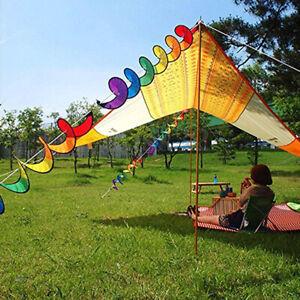 55'' Rainbow Spiral Windmill Wind Windsock  Camping Tent Garden Decor