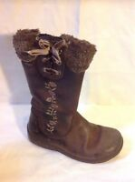 Girls Clarks Brown Leather Boots Size 9G
