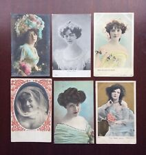 6 x Antique Edwardian Early 1900's Actresses Postcards