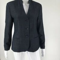 Emporio Armani Womens Suit Jacket Navy Blue 100% Silk Textured Pockets Blazer 42