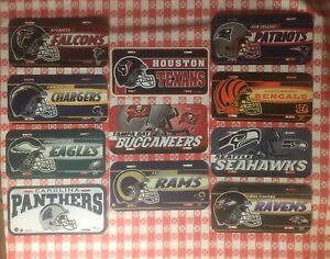 Lot Of 11 NEW FOOTBALL NFL  License Plates All Different WinCraft