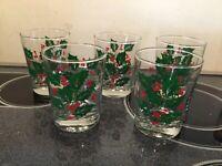 FESTIVE 5 Christmas Tumblers DOF (Double Old Fashion) RED GREEN HOLLY MISTLETOE