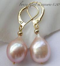 Z3495 14mm pink drip freshwater pearl dangle earring