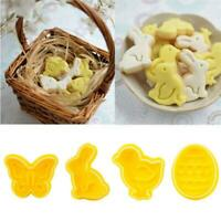 4Pcs Easter Plastic 3D Cookie Cutter Plunger Biscuit Pastry Fondant Mold New