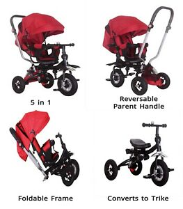 5 in 1 Tricycle Kids Trike, Tricycle Stroller Child Push Chair 360 Seat  Push