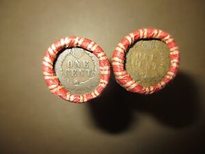 2 MIXED WHEAT INDIAN HEAD PENNY SHOTGUN ROLLS WITH INDIAN CENT END COIN! USA 83