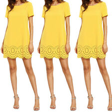 Summer Women Cotton Short Sleeve Floral Evening Party Beach Casual Mini Dress