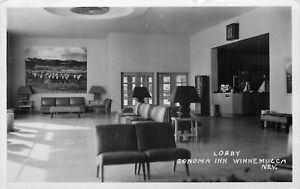 WINNEMUCCA NV SONOMA INN  LOBBY RPPC 1954 POSTCARD