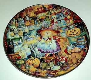 """FRANKLIN MINT Heirloom LE Collectible Plate 8 1/2"""" SCAREDY CATS"""
