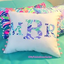 New Monogram pillow made with Lilly Pulitzer Nice Ink Fabric