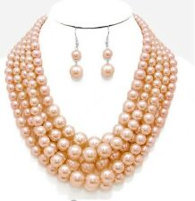 Nude Light Brown Bib Pearl Crystal Multi Layered Bridal Necklace Set Earring