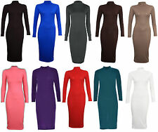 New Ladies Dress Maxi Womens Bodycon Long Turtle Polo Neck Midi Plain Stretch