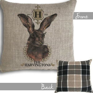 Personalised Hare Rabbit Cushion Country Christmas Family Gift Dad Nan Mr & Mrs
