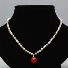 3-4mm weiß Süßwasser Perle & 14mm rot Muschelkernperlen Halskette Anhänger