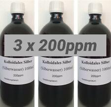 3 x Kolloidales Silberwasser 1000ml, 200ppm, hochrein, hochkonzentriert!!!