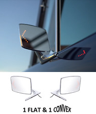 Pair Chrome Exterior Door Mirror w/ LED Turn for 66-77 Ford Bronco & 67-79 Truck
