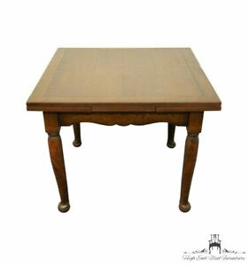 """Vintage Antique Solid Walnut English Revival 36"""" Square Draw Leaf Dining Table"""