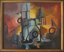 VINTAGE AMERICAN INDUSTRIAL ABSTRACT EXPRESSIONIST OIL PAINTING CHICAGO IL ORIGN