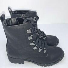 SO Sugarmaple Combat Boots Faux Leather Lace Up Side Zipper Black Women's Sz 5