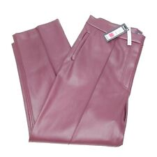Women's M&S Evie Faux Leather Straight Trousers, Berry, Size 18 Long. BNWT