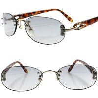 True Vintage Gold 80s Womens Light Tint Lens Rectangle Oval Rimless Sunglasses