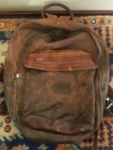 🔥VINTAGE ROOTS CANADA LARGE BROWN PEBBLED LEATHER DISTRESSED BACKPACK🔥