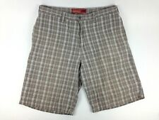 Perry Ellis America Men's Golf Shorts Bermuda Flat Front Gray Stripe Size 34