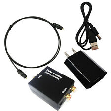 Digital Optical Coaxial to Analog RCA Audio Converter Adapter with Power Supply