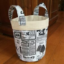 Fabric Storage Container,Vintage Newspaper Print, Medium 21cmx19cm With Handle