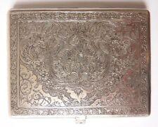 Boite étui à cigarettes argent massif ciselé Ancien vers 1920  silver box 100 gr