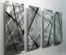 Statements2000 Metal Wall Art Abstract Silver Black Panels Jon Allen Finish Line