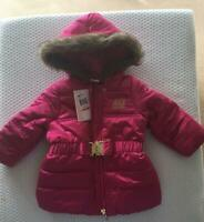 JUICY COUTURE  Girls 12m & 24mths faux fur trim hooded puffer coat - NWT
