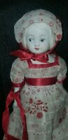 "ANTIQUE PAT JAPAN SWIVEL HEAD SIDE GLANCING BISQUE JOINTED DOLL 10 1/2"" cloth bo"