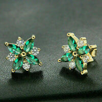 3 Ct Marquise Cut Emerald Cluster Flower Shape Stud Earrings 14K Yellow Gold Fn