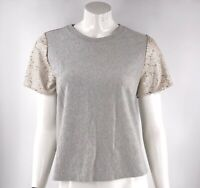 A New Day Womens Top Size Medium Gray Gold Sequin Sleeves Pullover Womens