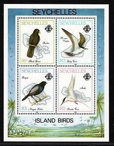 Seychelles 1989 - MS Black Parrot, Sooty Tern, Dajal, Roseate Tern, Seeschwalbe