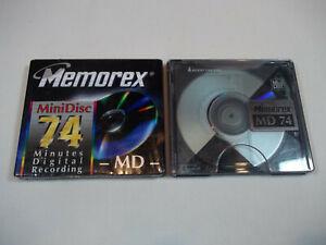 Memorex 74 Minutes Digital Recording MD MiniDisc Lot of 2 - 1 New 1 Used