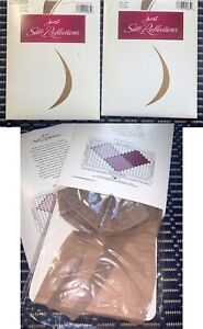 VTG Hanes Silk Reflections THIGH HIGH STOCKINGS Sandalfoot 720 Taupe EF,  2 PAIR