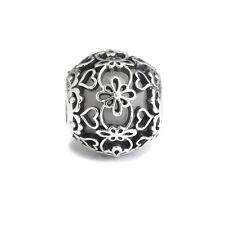 White Murano Glass Lace Sterling Silver Charm Wedding Bride Princess Jewellery