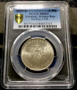 1929 E Germany 3 Mark Silver - Meissen PCGS MS 63 #1271