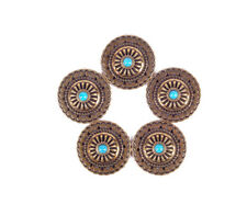 10Pc 35X35Mm Beauty Copper Flower Green Turquoise Leathercraft Screwback Conchos