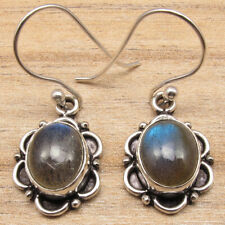 Blue Flashing Labradorite Gemstone Earings ! Silver Plated Old Style Jewelry