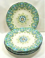 Pier 1 Celeste Dinner Plates x4 Blue Green Yellow Floral Scrolls