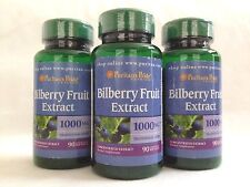 3 Puritan's Pride Bilberry Fruit Extract 1000mg Softgels ** Eyes Vision Health**