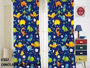 Home Window Curtain Panels Kids Boys with tiebacks, Dinosaurs Design Print .