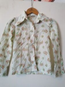 Vintage Palomino 1970s Pointed Collar Girls Age 10/11 Floral