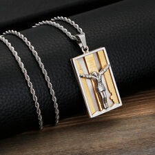 Mens new Gold Stainless Steel Jesus Bible religious amulet Tag Pendant Necklace