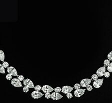 14k White Gold Necklace made w Swarovski Crystal Bling Stone Bridal Prom Jewelry