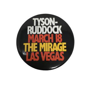 "1991 Tyson vs Ruddock Pinback Button March 18 The Mirage Las Vegas 3"" Black"